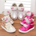 Envío gratis 1 par moda rhinestone niños sports Sneakers casual de dibujos animados Hello Kitty zapatos, cómodo niño zapatos de la muchacha