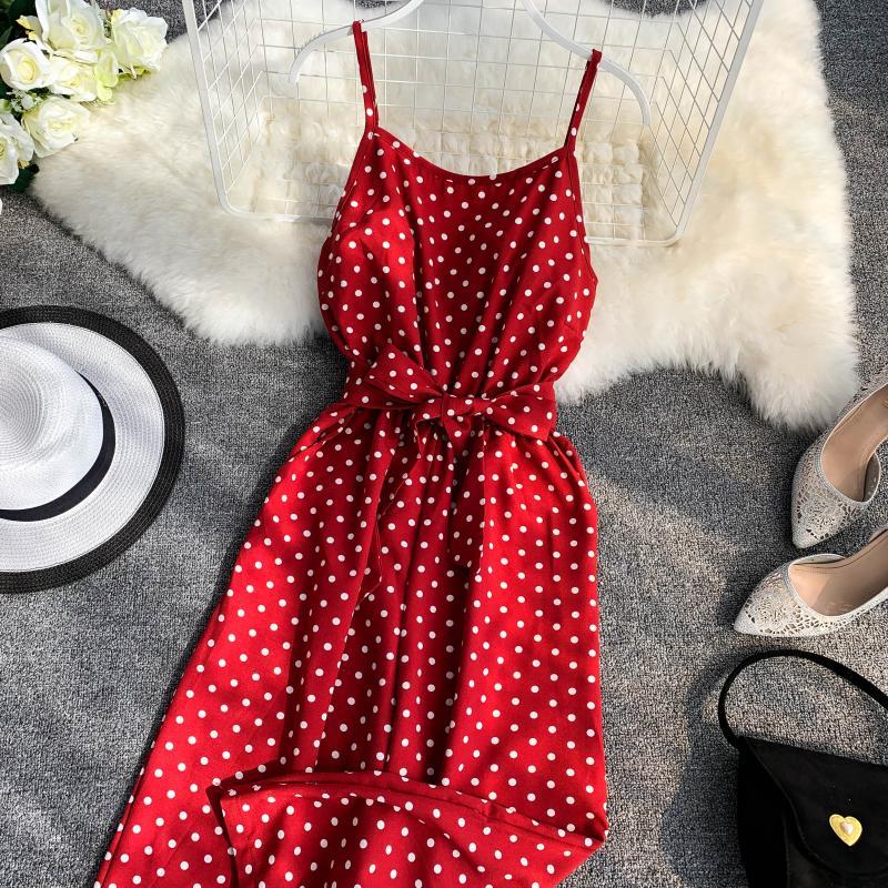 Holiday Retro Dot Print V Collar Sleeveless High Waist Broad-legged Overalls Beach Rompers Womens Jumpsuit E521 7