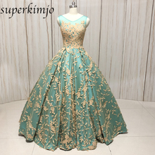 ball gown evening dresses hunter blue v neck lace appliques puffy backless up back court train prom real picture