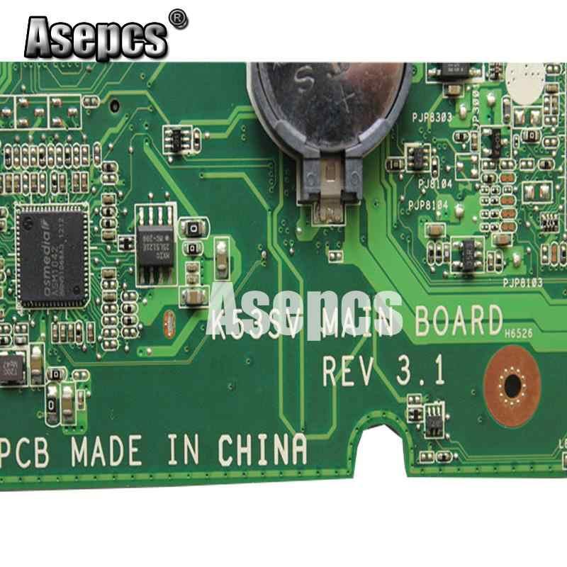 Asepcs K53SV Motherboard Laptop UNTUK ASUS K53SM K53SC K53S K53SJ P53SJ A53SJ Uji Asli Mainboard REV2.1/2.4/3.0 /3.1GT540M-2GB