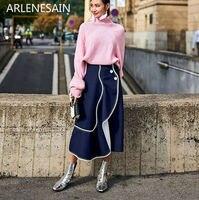 Arlenesain custom fashion White shirt black high waist long dress women suit