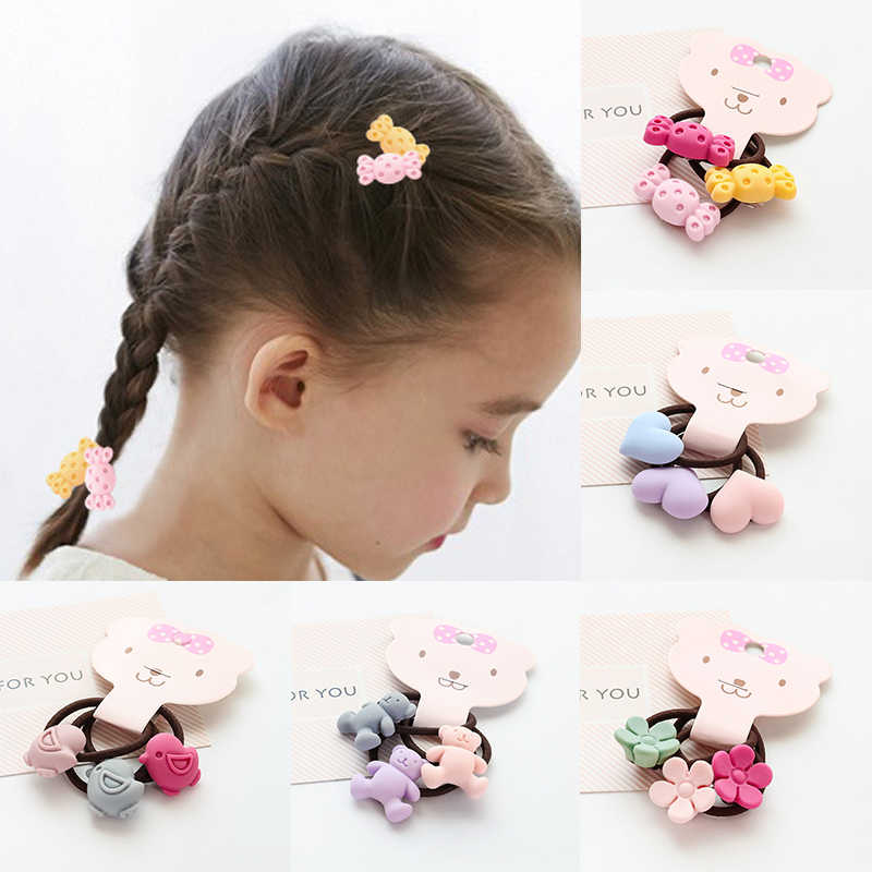 Korean Children Cute Flower Smile Bow Tie Elastic Hair Bands Rubber Hair Ring Rope For Girls Fashion Hair Accessories 6 Models
