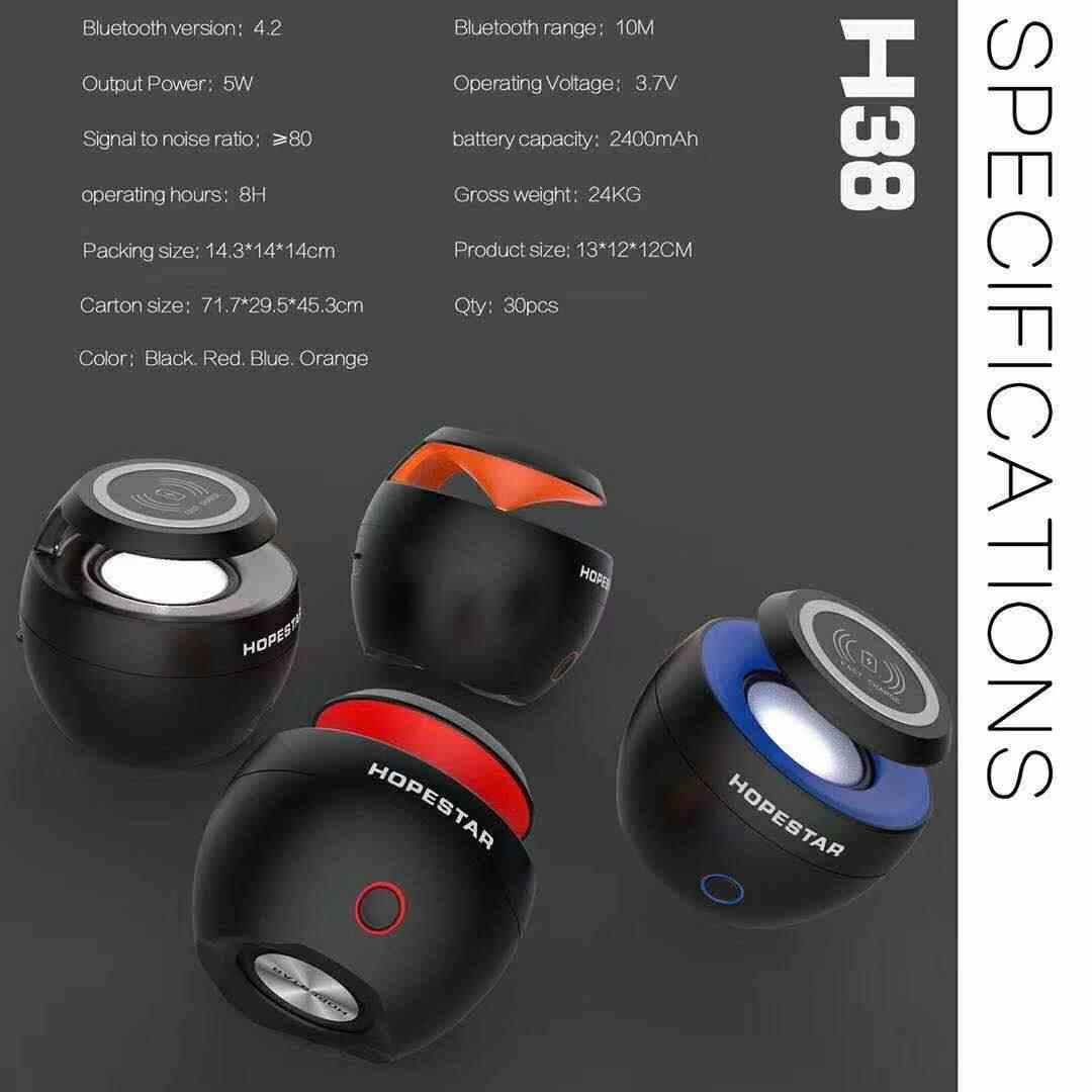 Hopestar H38 dengan Nirkabel Bluetooth Built-In Nirkabel-Charger Cepat-Pengisian FM Speaker, Subwoofer, dan Luar Ruangan Portabel Speaker