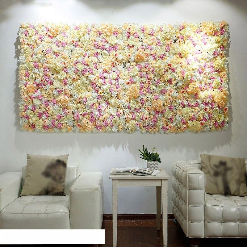 40x60cm Artificial Flower Panels Wedding Decoration Backdrop Champagne Silk Rose Fake Flowers Hydrangea Wall Backdrop 24pcs