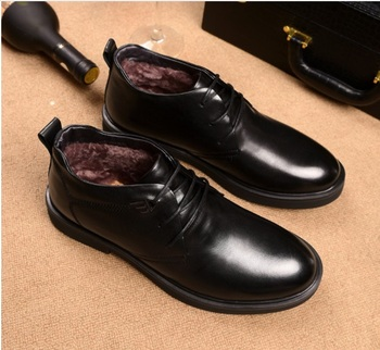 Autumn Winter men's Plus velvet keep warm Martin boots men's Breathable high-top boots Genuine leather lace-up dress shoes