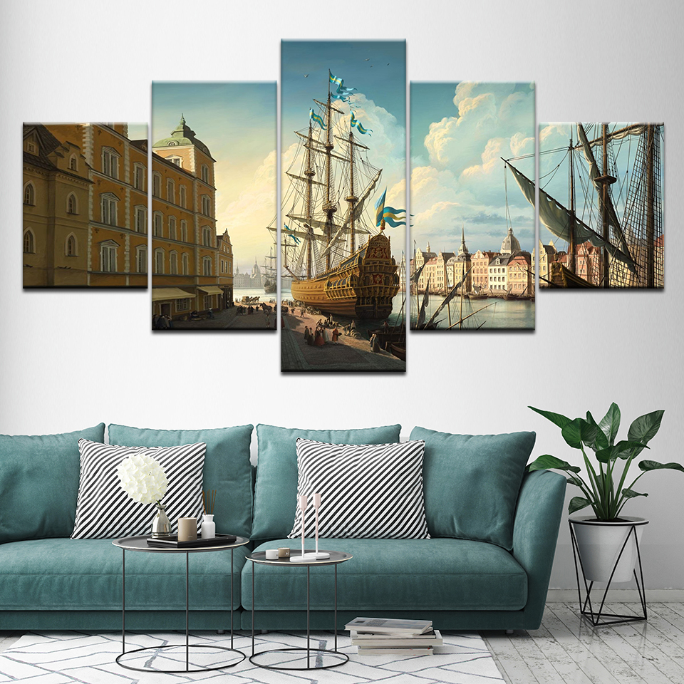 Canvas Painting century European harbor ships 5 Pieces Wall Art Painting Modular Wallpapers Poster Print for living room Decor in Painting Calligraphy from Home Garden