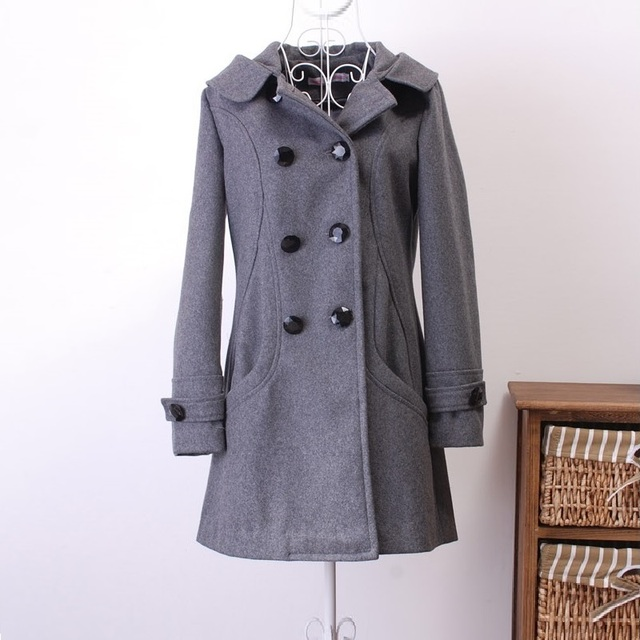 Winter jacket women Coat Casaco Feminino Sobretudo Femininos De Inverno Black Woolen Trench Coat Women Jacket Warm Overcoat 2