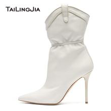 Weiß Retro Frau High Heel Punkt Slip Auf Schuhe Mode Plus Größe 12 CM Ferse  Damen Winter Herbst Ankle stiefel Freies Verschiffen d1e4452a7b