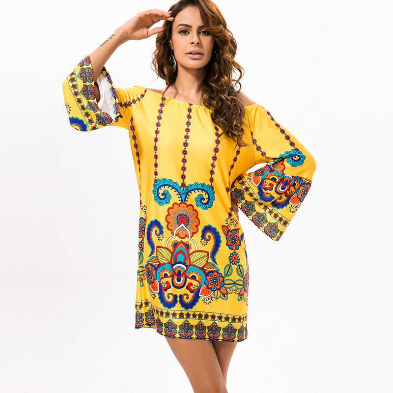 Bhflutter женское платье Новый 2018 Цветочный принт Ice Шелковый Повседневное летнее платье с расклешенными рукавами с открытыми плечами короткие Boho Пляжные наряды