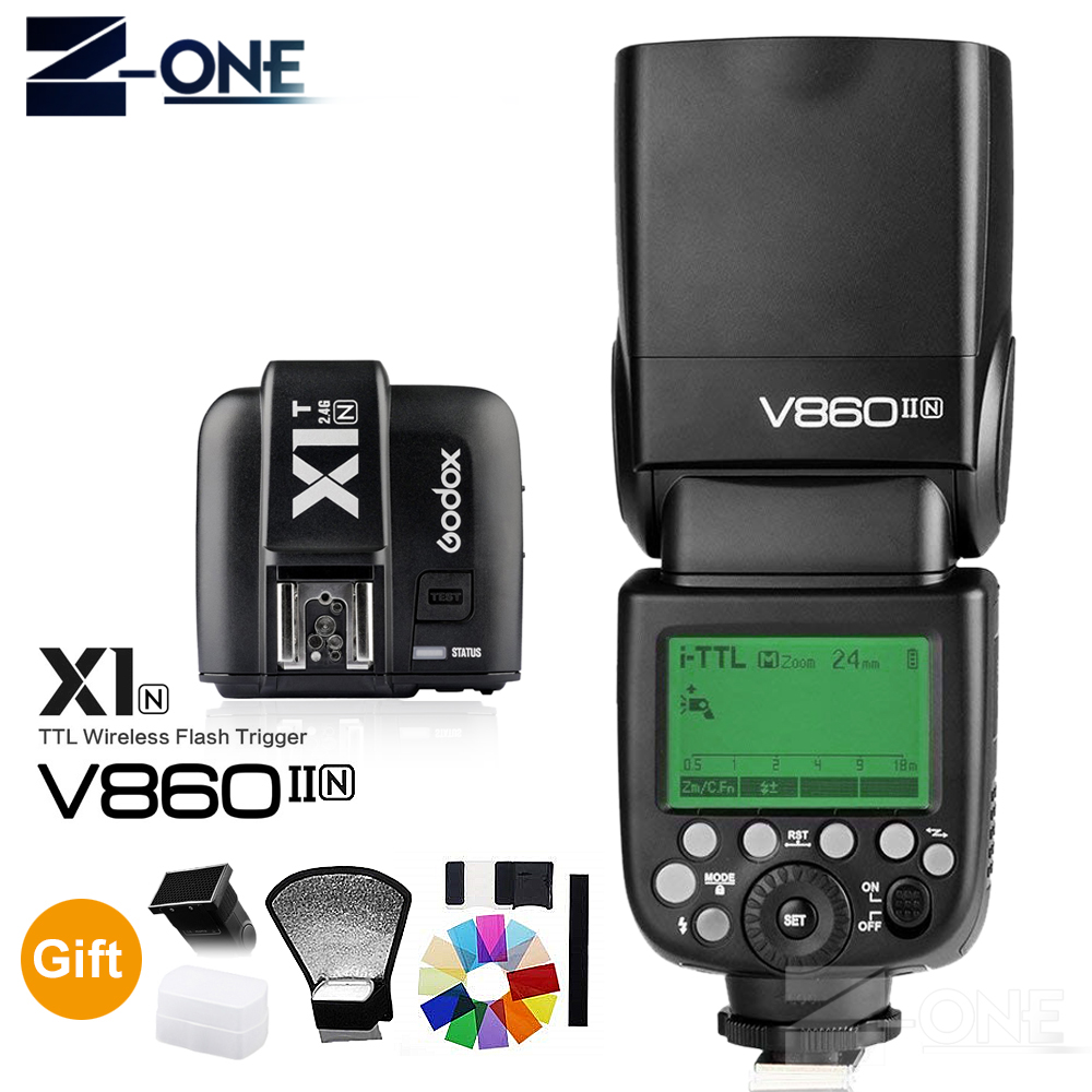 Godox V860II V860II-N GN60 i-TTL HSS 1/8000s Speedlite Flash w/ Li-ion Battery + X1T-N Flash Transmitter for Nikon Camera godox v860ii c v860iic speedlite gn60 hss 1 8000s ttl flash light x1t c wireless flash trigger transmitter for canon eos