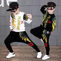 Autumn Fashion Girls Boys Clothing Sets Long Sleeve Feather Print Hoodies Tracksuits 2pcs Children Clothes For 8 10 12 14 Years