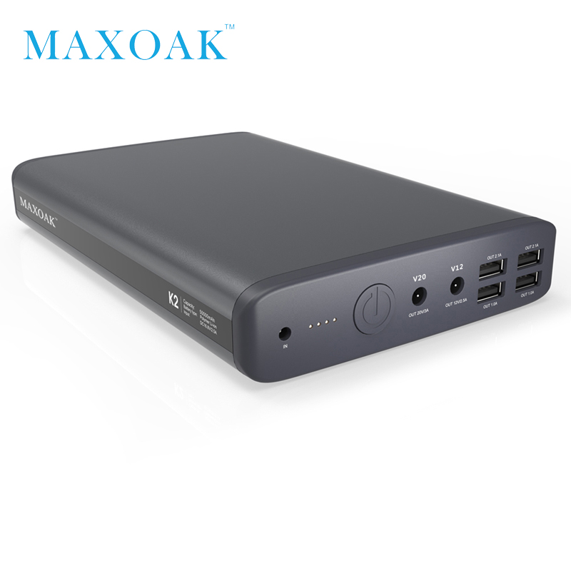 MAXOAK power bank 50000mah 6 output port DC12V / 2.5A DC20V / 5A notebook power bank kan oplade laptop, tablet, mobiltelefon