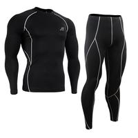 Men Sets Compression Shirts + Leggings Base Layer Crossfit Fitness Brand MMA Long Sleeve T Shirt Tight Tops