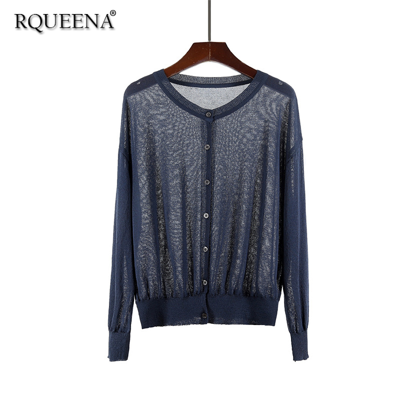 Rqueena Korean Style 2018 New Arrival High Fashion Summer Cardigan O Neck Long Sleeve Summer Knitted Batwing Cardigan For Women