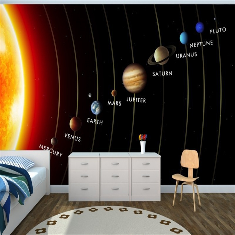 3d Wallpaper For Kid Bedroom Beibehang Mural Planets In Solar System Mural 3d Wallpaper
