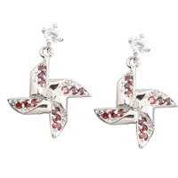 Windmill Red Garnet 2 2mm Semi Precious Silver Cool For Womens Stud Earrings ED0406