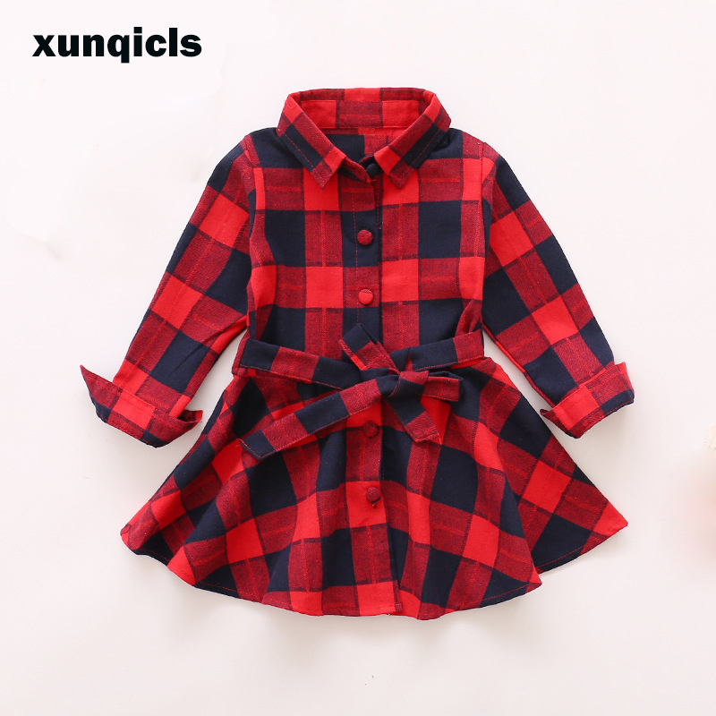 xunqicls 2018 Plaid Girls Dress Long Sleeve Children Cotton Clothes Vestidos Kids Tutu Dresses Baby Girl Clothing