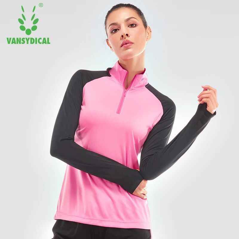 c60a11b8b2f47 Women Yoga Shirts Long Sleeve Workout Tops Half Zipper Stand Collar Fitness  Running Gym Sport T