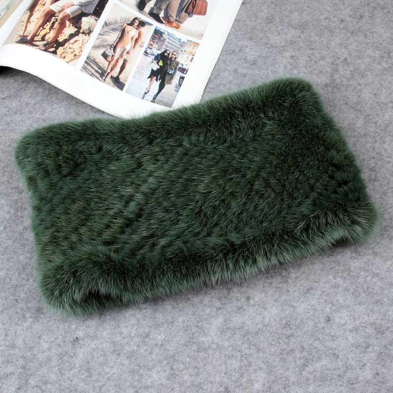 mink fur headband green color