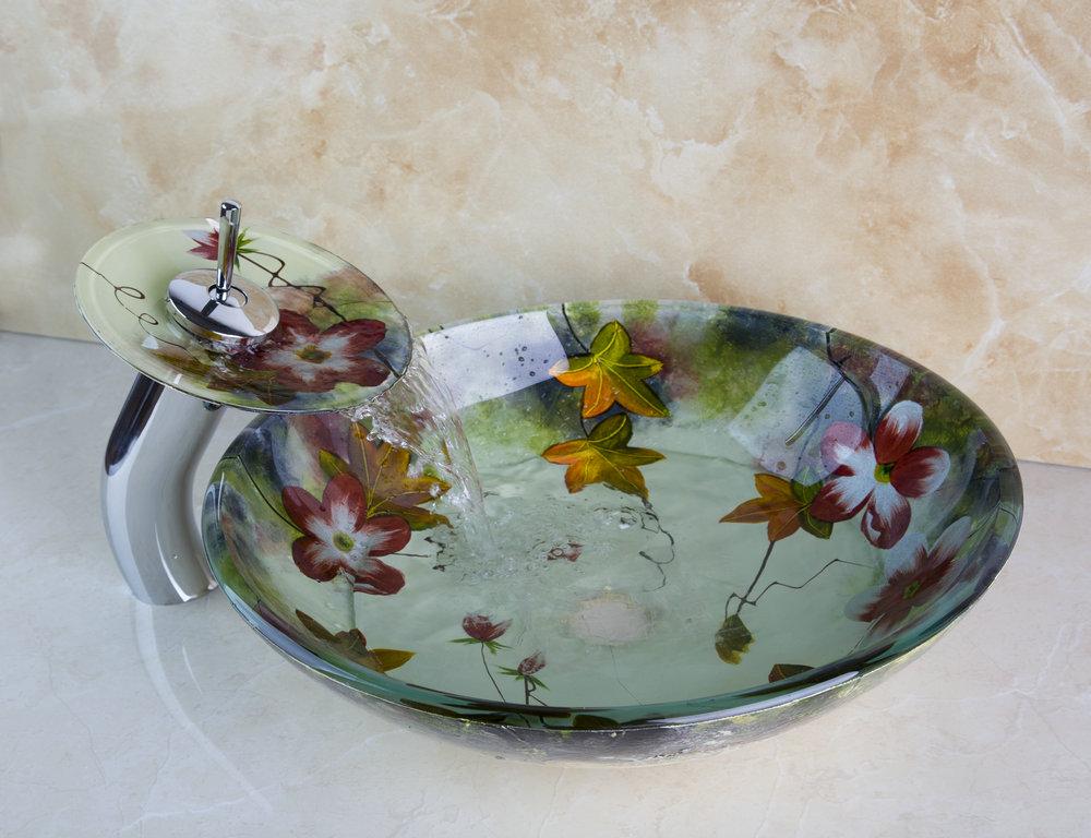 Ouboni Flower Painting Basin Bowl Countertop Washbasin