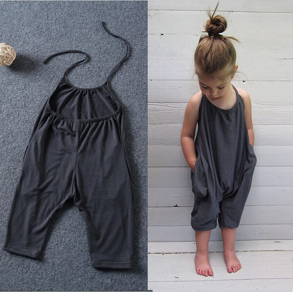 8963ee7621b Kids Baby Girls Overalls Dark Gray Casual Fashion Trousers Clothes Girl  Toddler Casual Romper Jumpsuit 2-8Y