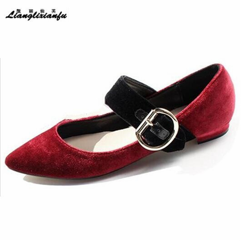 LLXF zapatos mujer 2018 Spring Stiletto Mary Janes High-heeled Shoes woman Flock female Buckle Pointed Toe Pumps Free shipping choudory high heels woman pumps spring autumn flower decoration woman shoes attractive flock pointed toe party zapatos mujer