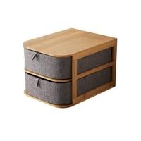 LUDA Multi Layer Drawer Type Bamboo Wood Desktop Storage Box Office Waterproof Storage Drawers Multilayer Structure Home Stora