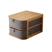 LUDA Multi Layer Drawer Type Bamboo Wood Desktop Storage Box Office Waterproof Storage Drawers Multilayer Structure Home Stora