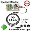 5 M Câmera Endoscópio USB OTG Android 5.5mm OD 3.5 M 2 M 1 M Tubo Flexível Cobra USB Câmera de inspeção Borescope Android OTG