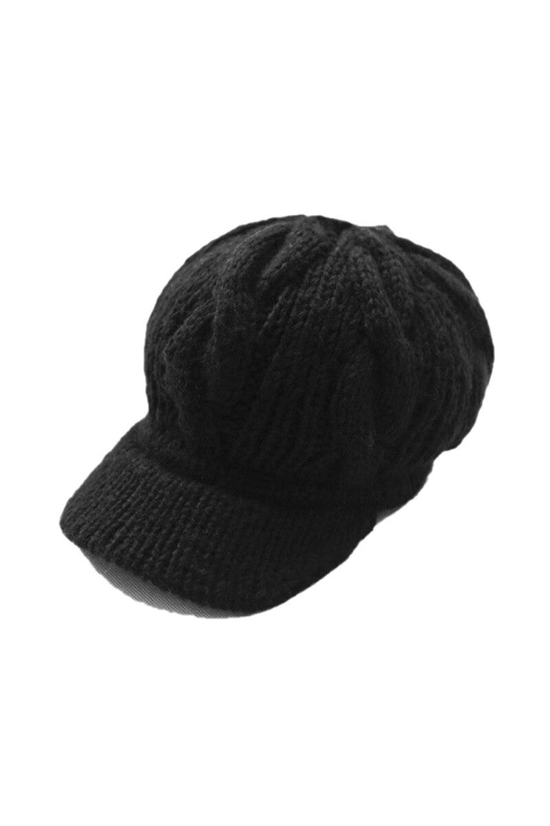 548f69a2e666ff Women Girl Slouchy Cabled Pattern Knit Beanie Crochet Rib Hat Brim Newsboy  Cap Warm - Black