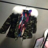 New Kids Genuine White Fox Fur Collar Coat With Natural Mink Fur Lining Medium Winter Outerwear