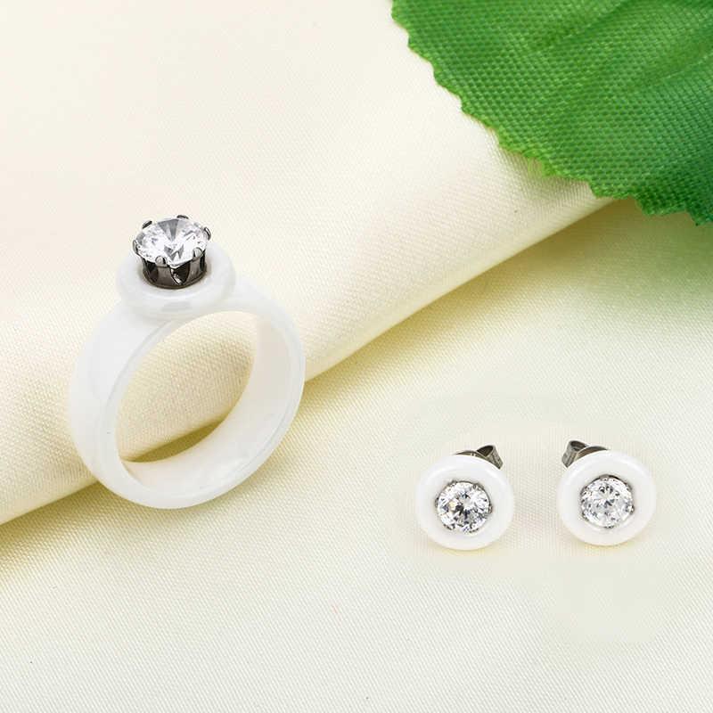 Nouvelle mode véritable ensemble de bijoux en céramique pour femmes dame cristal AAA cubique Zironia boucles d'oreilles anneaux ensemble de bijoux Collection