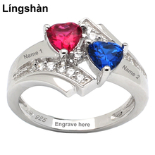 Engrave Names Women 925 Silver Ring Birthstone Double Heart 5x5mm Cubic Zirconia Size 6 to 9