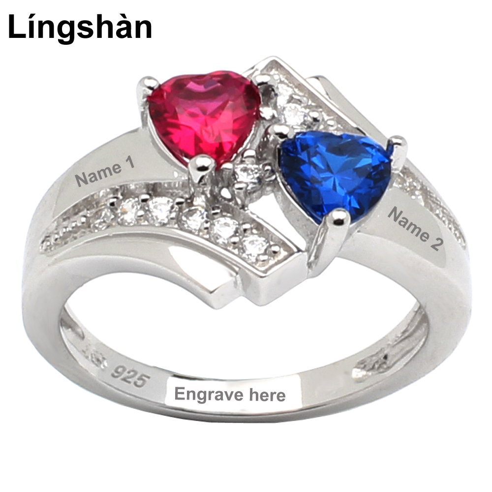 Engrave Names Women 925 Silver font b Ring b font Birthstone Double Heart 5x5mm Cubic Zirconia