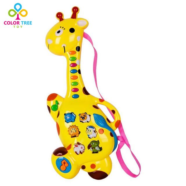 Niños juguete educativo del instrumento musical toys multifuncional guitarra animales en forma de jirafa regalo