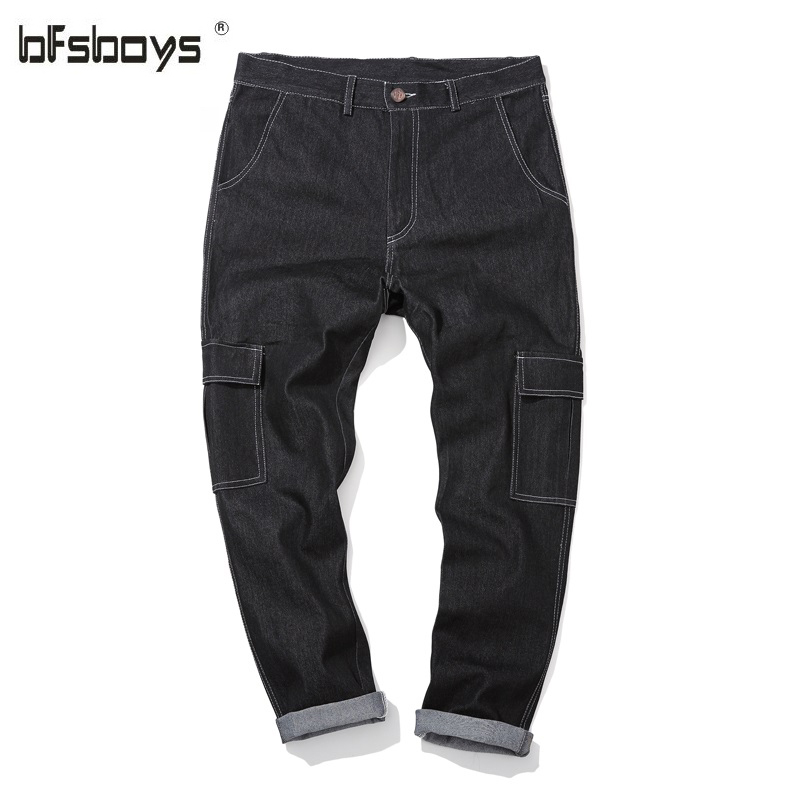 ФОТО Autumn new arrival k8802 primaries black male loose elastic personalized three-dimensional line bags jeans