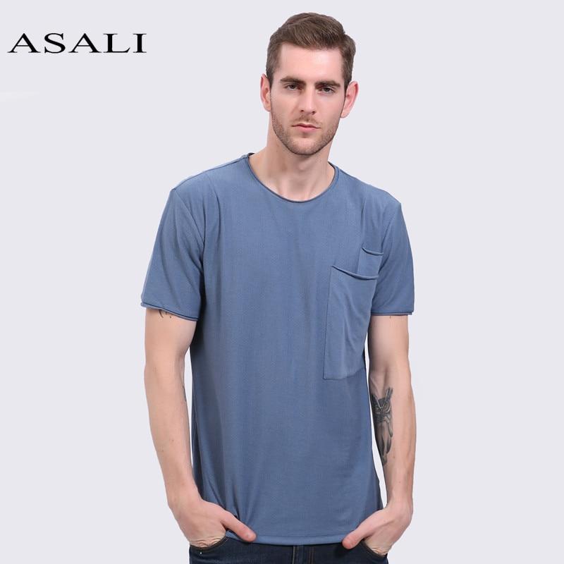 ASALI Men Pocket T-Shirts Tee Plus Size Short Sleeve summer men's leisure...