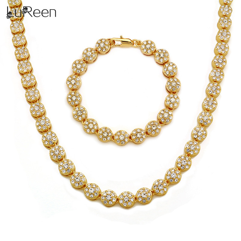 Lureen Hip Hop Iced Out Tennis Necklace Mens Gold Silver Color Bracelet Long Necklace Chain Rapper Jewelry Set Party Zhdp1004 Excellent (In) Quality