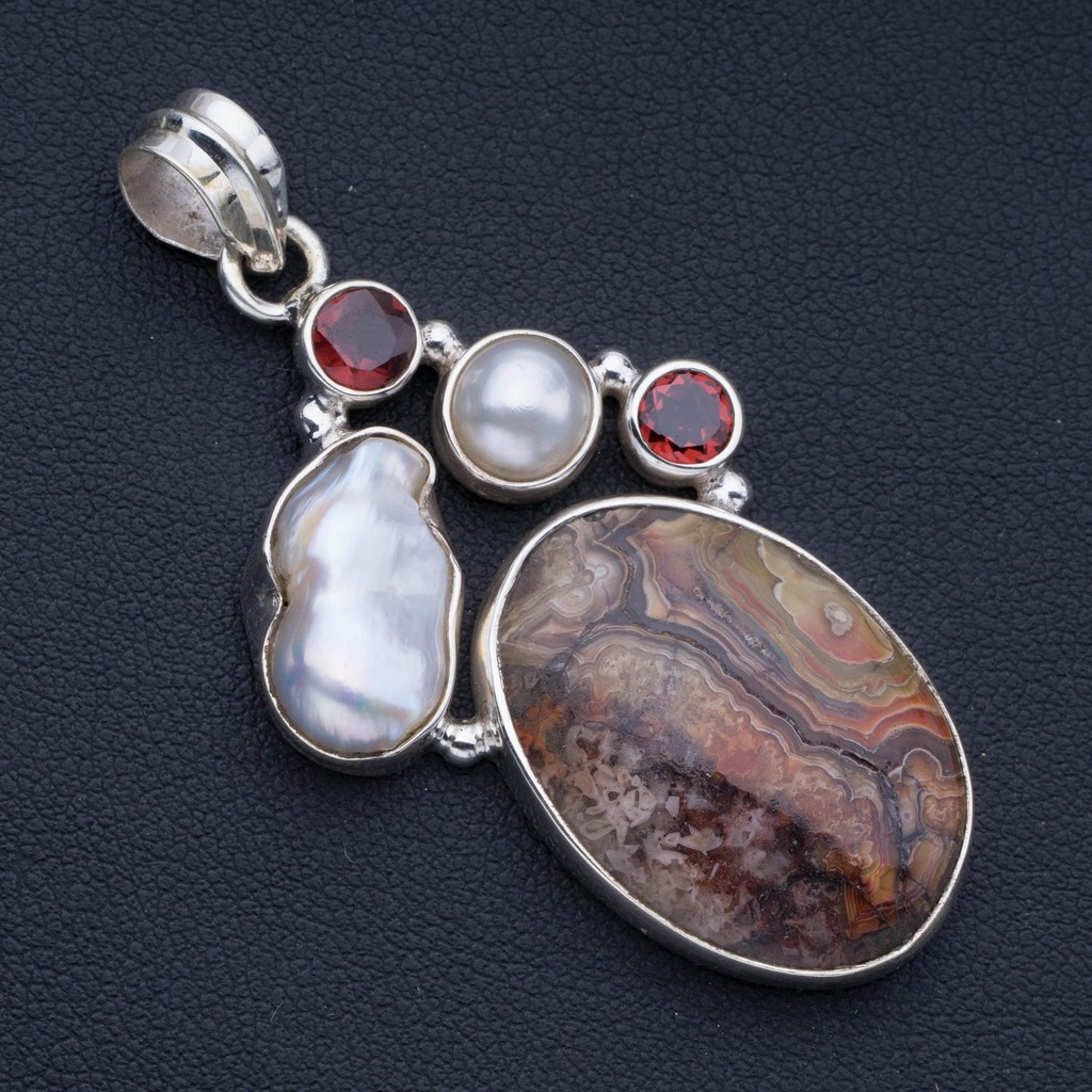 In Workmanship Natural Crazy Lace Agate,river Pearl,garnet And Biwa Pearl 925 Sterling Silver Pendant 2 1/4 P0959 Exquisite