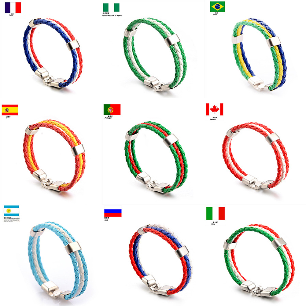 National Team Flag Leather France Wristband Nigeria Bracelets Soccer SPAIN Dropshipping