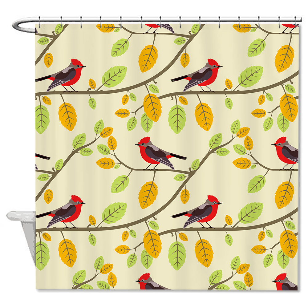 Spring Bird Leaves Waterproof Anti-bacterial Bathroom Shower Curtain,Anti-mildew Resistant Fabric Shower Curtain For Bathroom
