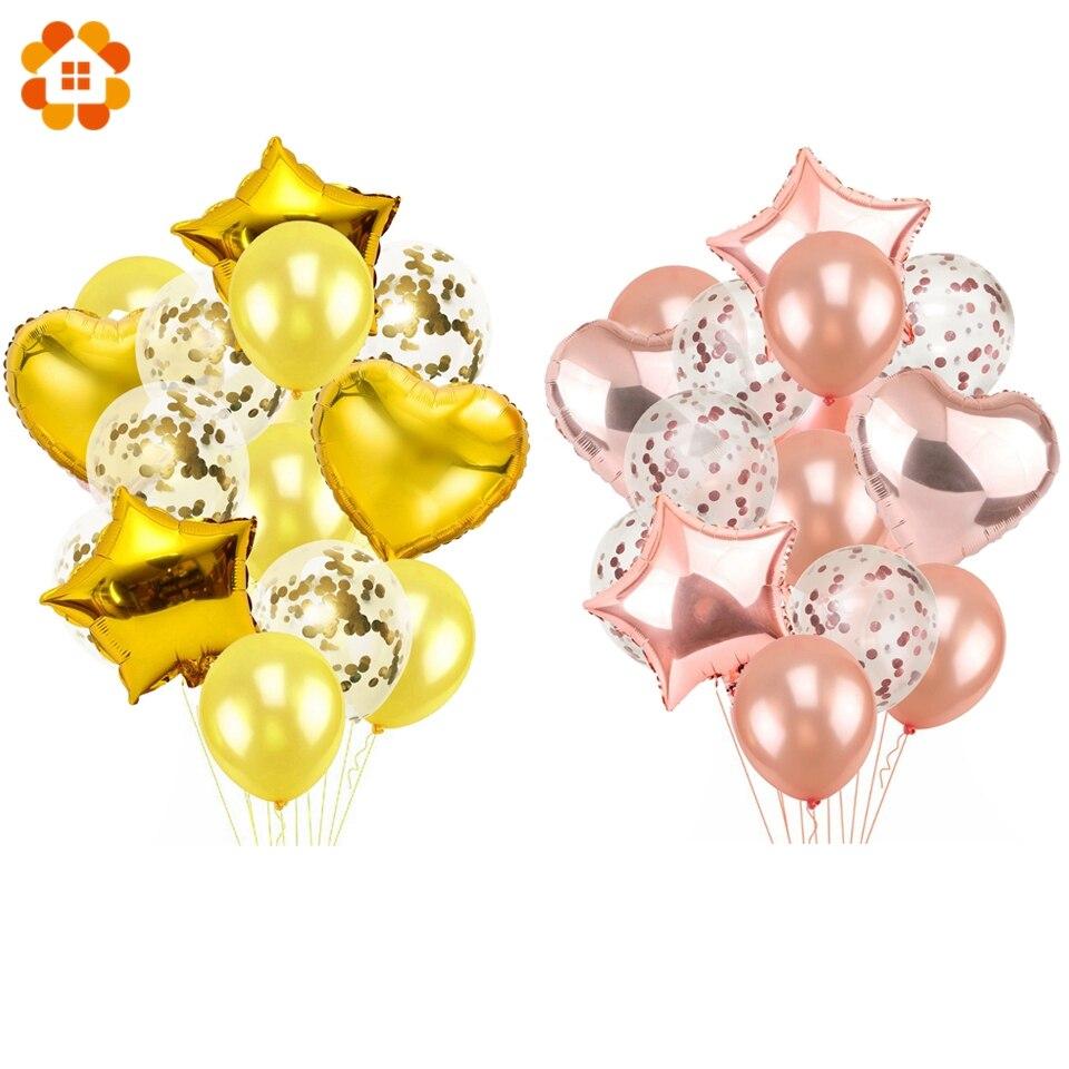 14 шт. 12 дюймов и 18 дюйм Champagne Gold воздушные шары День Рождения гелием воздушный шар украшения свадебные фестиваль балон вечерние поставки