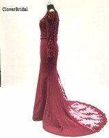 2017 Latest Stock Mermaid Burgundy Long Evening Dresses Long Sleeves Vestido De Festa Off The Shoulder