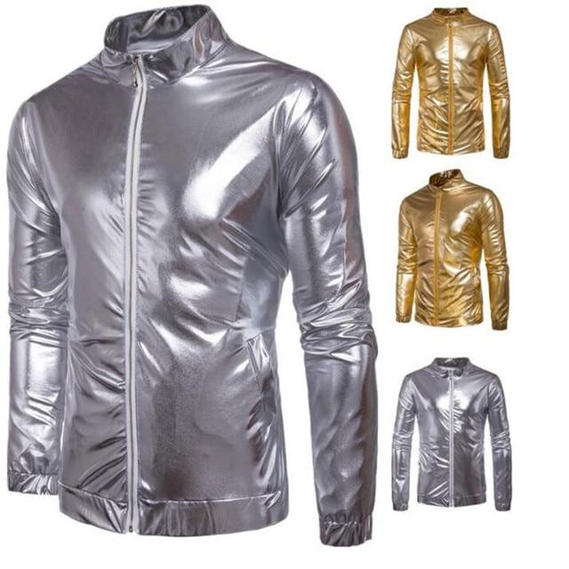 new style 8dad7 c1069 Neue Trend Metallic Gold Bomberjacke Manner/Frauen Veste Homme 2016  Nachtclub Mode Slim Fit Zipper Baseball Varsity Jacke -in Jackets from  Men's ...