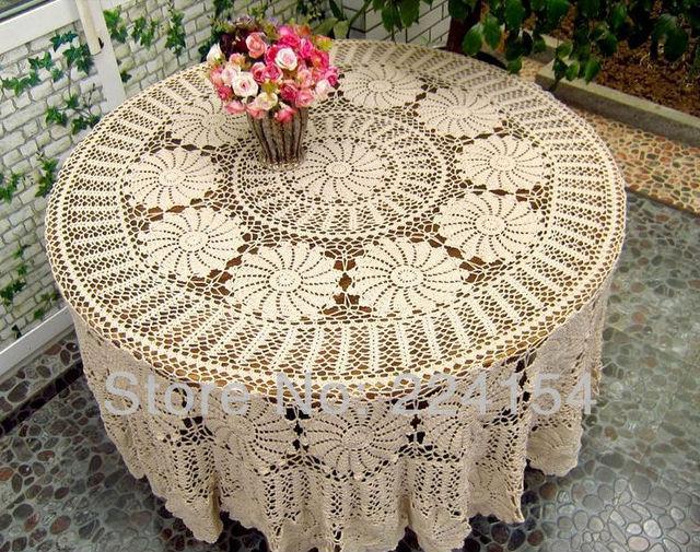 € 87.37 |220 CM aspecto vintage mano crochet amarillento mantel redondo ~  envío gratis en Manteles de Hogar y Jardín en AliExpress.com | Alibaba ...