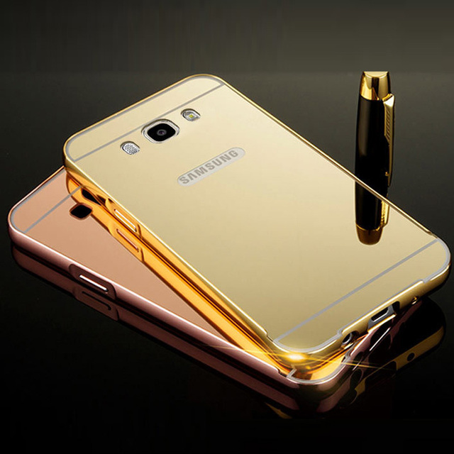 For Samsung J2 Prime Case Aluminum Metal Frame Acrylic Mirror Back Cover Galaxy Grand