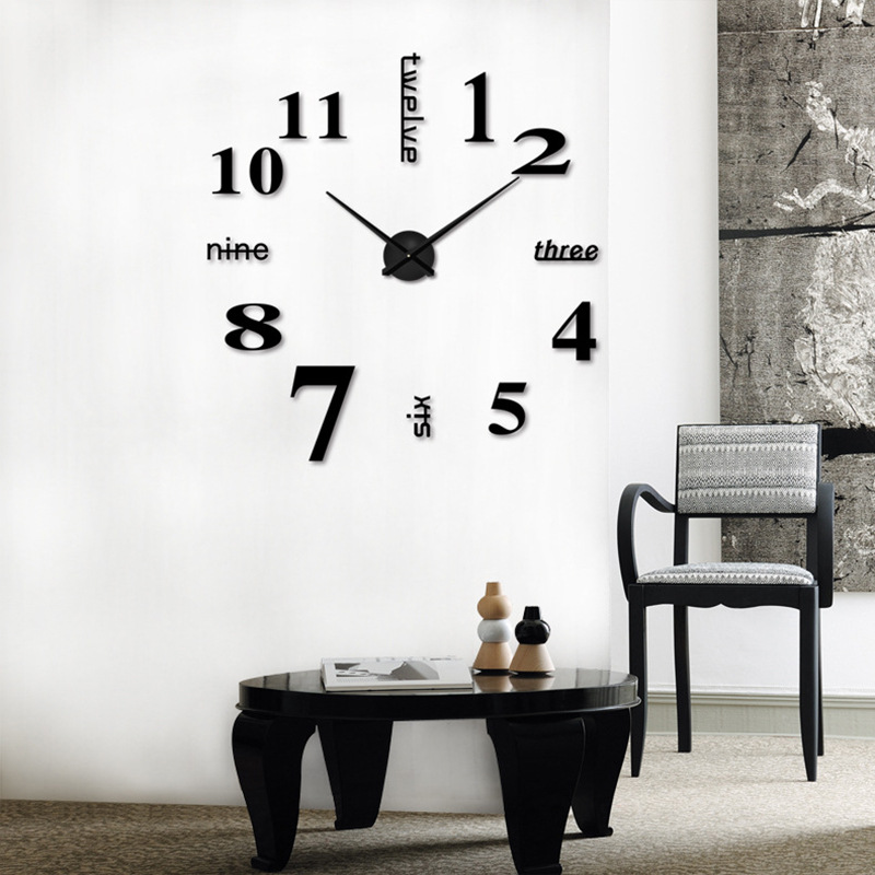 HOT 3D Large Wall Clock Mirror Sticker Big Watch Sticker Home Decor Unique Gift DIY