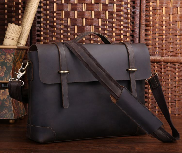 Nesitu High Quality Real Crazy Horse Leather Genuine Leather Men Messenger Bags 15.6 inch Laptop Vintage Briefcase #M7082 maxdo high quality dark brown vintage genuine leather crazy horse leather men messenger bags 15 6 laptop briefcase m7082