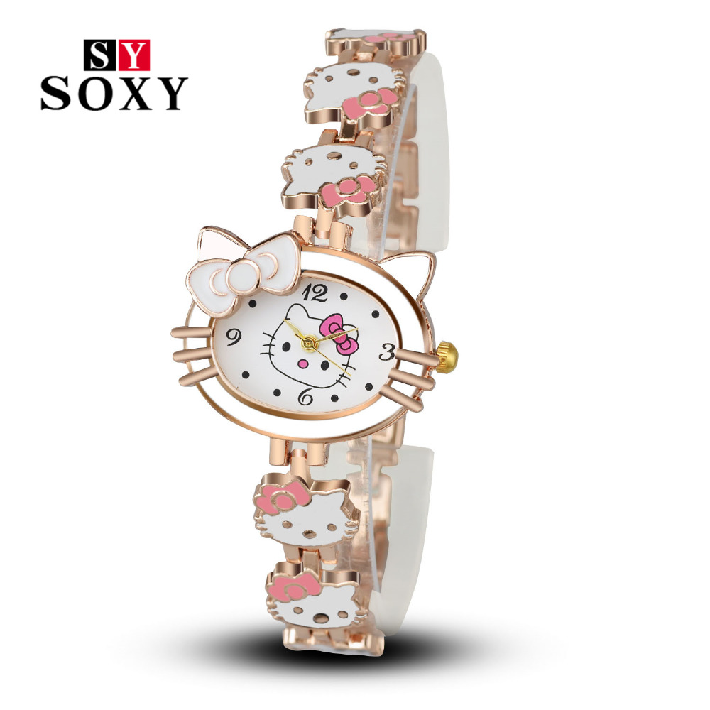 Women Child Cartoon Bracelet Watch Hello Kitty Fashion Casual Dress Quartz Wristwatch Female Mujer Relojes Hot sale Kid Clock hello kitty clock women dress watch hello kitty cartoon watches stainless steel watch women rhinestone watches kids