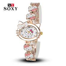 Women Child Cartoon Bracelet Watch Hello Kitty Fashion Casual Dress Quartz Wristwatch Female Mujer Relojes Hot sale Kid Clock